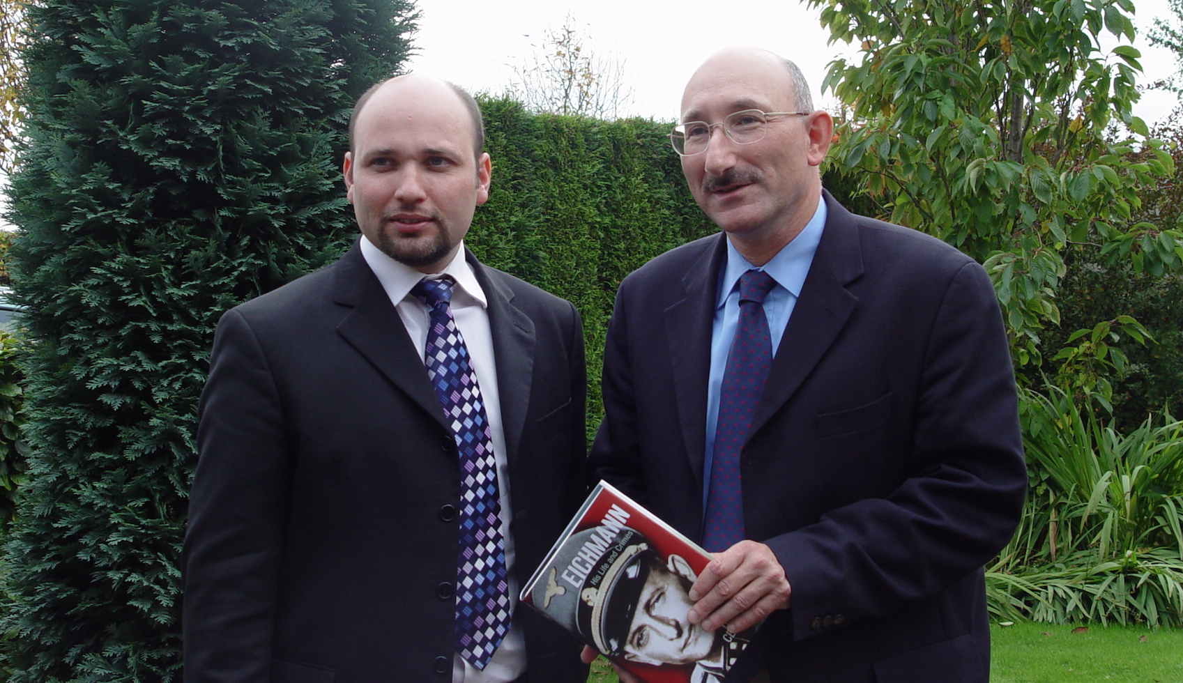 Prof. David Cesarani (right) with Dr James Smith at the National Holocaust Centre during the launch of Cesarani's book 'Eichmann: his life and crimes'.