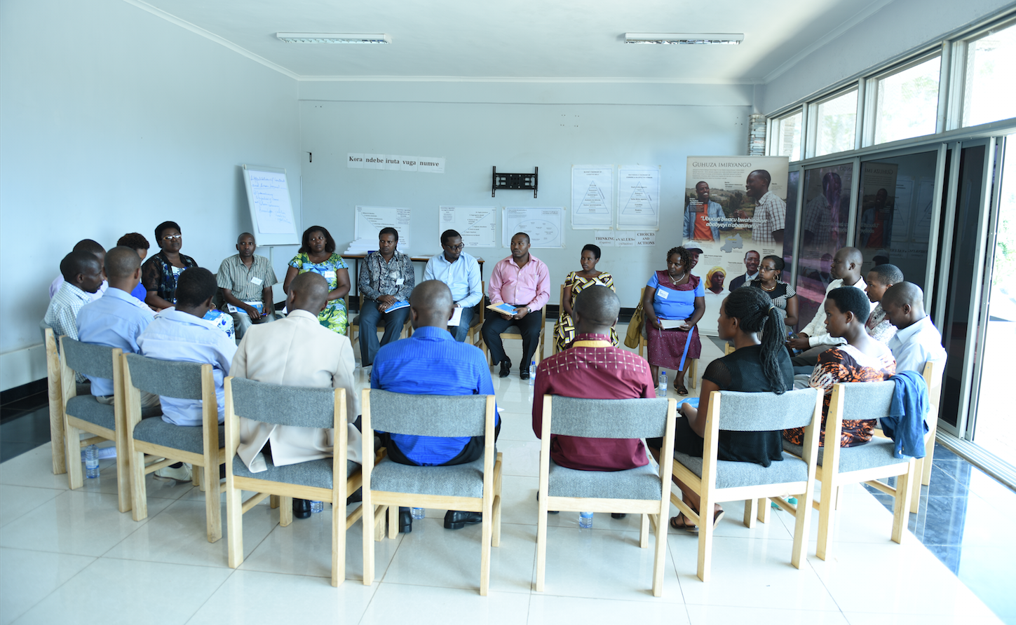 Teachers take part in training at the Kigali Genocide Memorial to help them deliver the peace education components of Rwanda's new school curriculum.