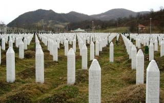 Gravestones at the Potočari genocide memorial near Srebrenica. Photo by Michael Büker CC BY-SA 3.0, https://commons.wikimedia.org/w/index.php?curid=6405619