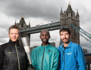 L-R: Rob Young (Marathon Man UK), Wilson Kipsang and Adam Holland encourage UK runners to join the Kenya Peace Torch Relay 2016