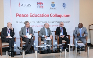 Attending the launch of Aegis' new programme, 'Education for Sustainable Peace in Rwanda', left to right: Johan Debar, Chargé d'Affaires of the Belgian Embassy to Rwanda; Mikael Boström, Head of Development Cooperation, Swedish Embassy to Rwanda; Dr James Smith, CEO, Aegis Trust; Kenny Osborne, Deputy Head of DFID Rwanda; Isaac Munyakazi, Rwanda's State Minister for Primary and Secondary Education. Kigali Genocide Memorial, Monday 20 February 2017