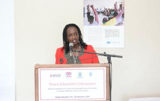 Aegis Programmes Director Anita Kayirangwa addresses the Aegis Peace Education Colloquium, Kigali Genocide Memorial, 20 Feb 2017