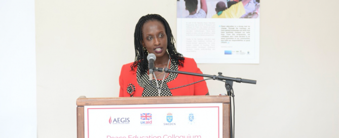Aegis Programmes Director Anita Kayirangwa addresses the Aegis Peace Education Colloquium, Kigali Genocide Memorial, 20 Feb 2017