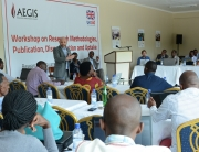 Aegis CEO Dr James Smith addresses the Aegis Trust's capacity-building workshop for Rwandan researchers
