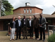 CNLG and staff from Aegis Rwanda visit the UK National Holocaust Centre. L-R: Sarah Wetton (educator), Phil Lyons (Centre CEO), Dr Jean Damascène Bizimana (Executive Secretary, CNLG), Dr James Smith (Aegis CEO & Centre President), Felix Ndahinda (Aegis Research Director), Yves Kamuronsi (Aegis Country Director, Rwanda)