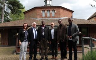 CNLG and staff from Aegis Rwanda visit the UK National Holocaust Centre. L-R: Sarah Wetton (educator), Phil Lyons (Centre CEO), Dr Jean Damascène Bizimana (Executive Secretary, CNLG), Dr James Smith (Aegis CEO & Centre President), Felix Ndahinda (Aegis Research Director), Yves Kamuronsi (Aegis Country Director, Rwanda)