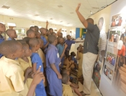 Aegis' education team lead a peace-building education workshop with students in Rwanda.