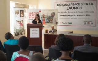 Swedish Ambassador to Rwanda, the Honorable Jenny Ohlsson, speaks at the launch of the Karongi Peace School