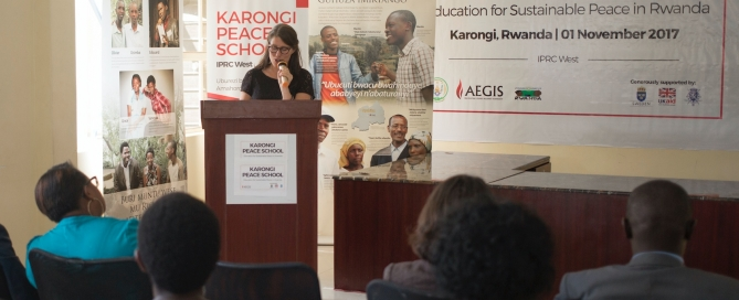 Swedish Ambassador to Rwanda, the Honorable Jenny Ohlsson, speaks at the launch of the Karongi Peace School