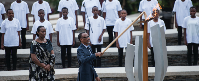 Rwanda's President Paul Kagame lights the flame of remembrance at the Kigali Genocide Memorial, 7 April 2018