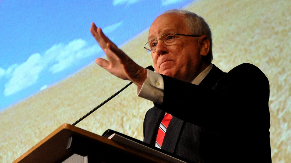 Ambassador Kenneth Quinn speaking at the International Wheat Congress in St. Petersburg, Russia, 2010