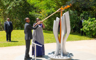 Kwibuka 26: Rwanda's President Paul Kagame lights the flame of remembrance at the Kigali Genocide Memorial, accompanied by First Lady Jeannette Kagame. 7th April 2020.